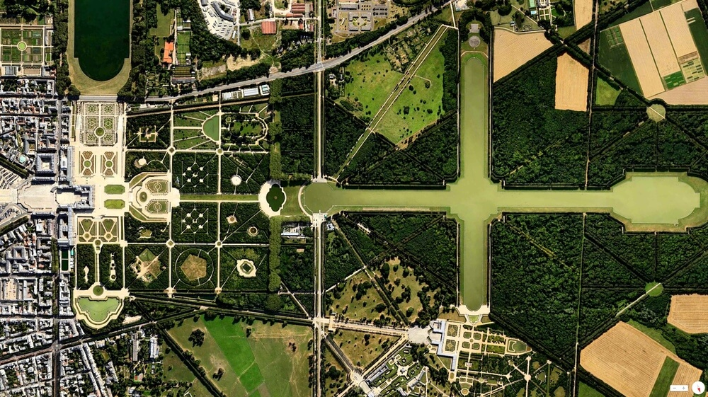 Aerial view of The Gardens of Versailles in France